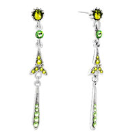 Earrings - dangle peridot green august birthstone crystal cz sword earrings Image.