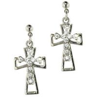 Earrings - sterling silver crystal cz paved celtic cross dangle earrings Image.