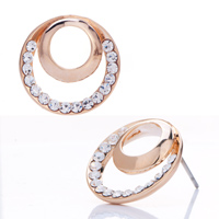 Earrings - double ring golden stud with clear white crystal cz earrings Image.