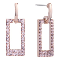 Earrings - fashion elegant pink crystal frame stud earrings for women Image.