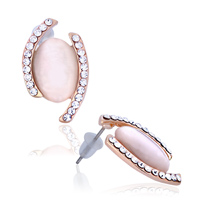 Earrings - elegant silk pearl with clear white crystal cz stud earrings Image.