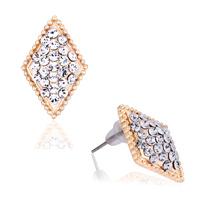 Earrings - fashion elegant white crystal cz rhombus stud earrings Image.