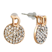 Earrings - letter d round clear crystal cz golden stud earrings Image.