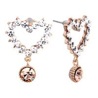 Earrings - heart white april crystal dangle november crystal ball stud earrings Image.