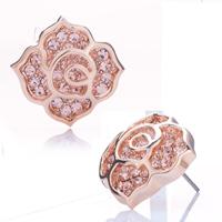 Earrings - fashion womens pink crystal cz petal clover golden stud earrings Image.