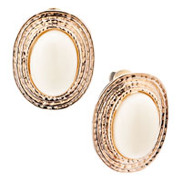 Earrings - oval golden semi precious stones stud earrings for fashion women Image.