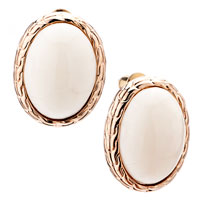 Earrings - oval golden semi precious stones lace stud earrings for women gift Image.