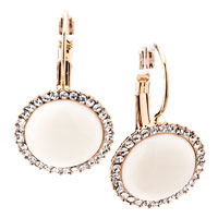 Earrings - round golden semi precious stones crystal cz pearl dangle earrings Image.