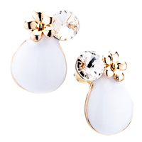 Earrings - fashion white pave teardrop flower crystal cz stud earrings Image.