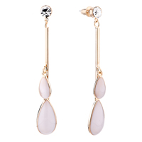 Earrings - white double pave teardrops dangle mother pearl earrings Image.