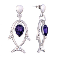 Earrings - cute dolphin dangle amethyst crystal february birthstone earrings Image.