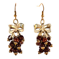 Earrings - 18 k gold butterfly bowknot coffee bean beads fish hook earrings Image.