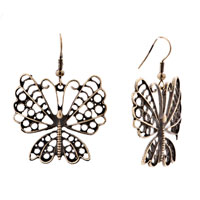 Earrings - brown butterfly drop antique dangle fish hook earrings for women Image.