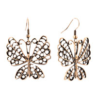 Earrings - golden butterfly drop antique dangle fish hook earrings for women Image.