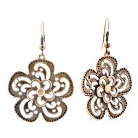 Earrings - flower drop filigree vintage dangle fish hook earrings for women Image.