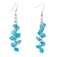 Earrings - chip stone earrings genuine turquoise gemstone nugget chips dangle earring Image.