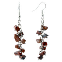 Earrings - tiger eyes chip stone earrings mookaite brown gemstone chips dangle earring Image.