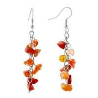 Earrings - carnelian chip stone earrings deep red gemstone nugget chips dangle earring for women Image.