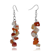 Earrings - chip stone earrings red white pattern dangle fish hook earrings stone chips Image.