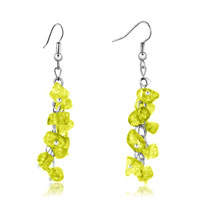 Earrings - citrine chip stone earrings gemstone nugget chips dangle earring for women Image.