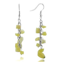 Earrings - chip stone earrings genuine pale yellow gemstone nugget chips dangle earring Image.