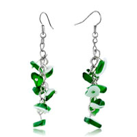 Earrings - green aventurine chip stone earrings gemstone nugget chips dangle earring for women Image.