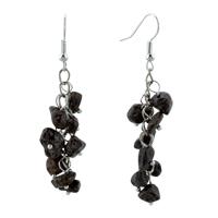 Earrings - black onyx chip stone earrings gemstone nugget chips dangle earring Image.