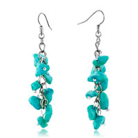 Earrings - chip stone earrings genuine pale green gemstone nugget chips dangle earring Image.