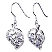 Sterling Silver Jewelry - sterling silver leaf white crystal cz dangle fish hook earrings Image.