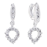 Sterling Silver Jewelry - white round dangle crystal drop 925  sterling silver jewelry earrings Image.
