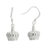 Sterling Silver Earrings - silver king crown sterling earring holiday Image.
