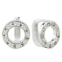 Earrings - silver round crystal dotted earring stud Image.