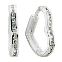 Earrings - silver heart crystal framed sterling earring stud Image.