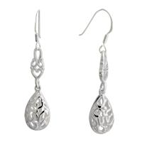 Earrings - silver raindrop decorative pattern sterling earring Image.