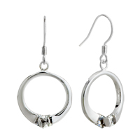 Earrings - silver round crystal sterling earring 925  dangle Image.