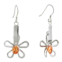 Earrings - silver flower yellow crystal sterling earring dangle Image.