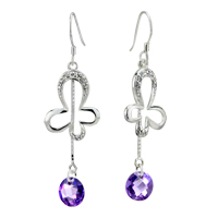 Earrings - silver bowknot dangle february purple crystal sterling earring Image.