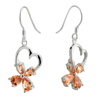 Earrings - silver heart yellow crystal four leaf clover sterling earring dangle Image.