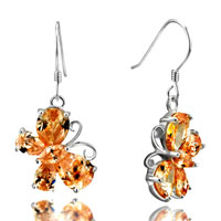 Earrings - november yellow butterfly crystal cz dangle sterling silver earrings Image.