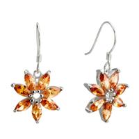 Earrings - november yellow flower crystal dangle sterling silver earring Image.