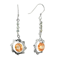 Earrings - november yellow sunflower crystal cz dangle sterling silver earrings Image.