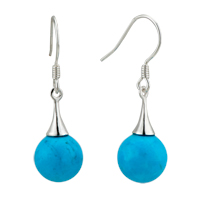Sterling Silver Earrings - december blue ball dangle sterling silver earring for fashion women Image.