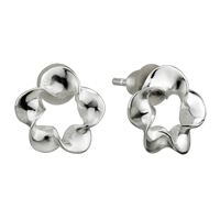 Earrings - sterling silver plum blossom earrings re stud for fashion women Image.