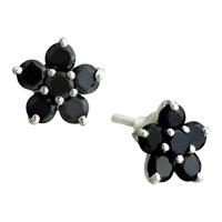 Earrings - hot black silver plated plum blossom crystal earrings flower stud Image.
