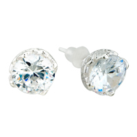 Earrings - april white clear droplet crystal cz sterling silver earrings Image.