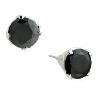 Earrings - black sterling silver water drop crystal cz earring dangle Image.