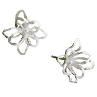 Earrings - silver tone hollow flower earring stud for fashion women Image.