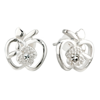 Earrings - sterling silver big small apples earrings re stud for fashion women Image.