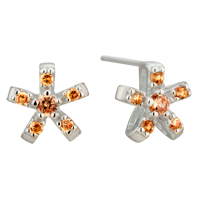Earrings - november yellow flower crystal cz sterling silver earring stud Image.