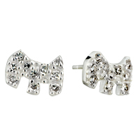 Earrings - sterling silver dog crystal dotted earring stud Image.